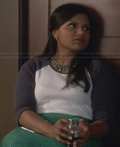 Mindy's white and navy baseball tee, green sequin skirt and green necklace on The Mindy Project