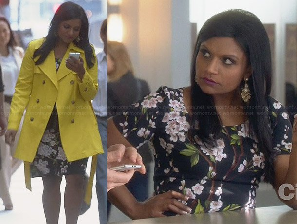Mindy's black floral dress and yellow coat on The Mindy Project