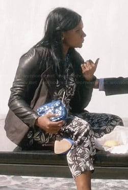 Mindy's black and white floral top and matching trousers on The Mindy Project