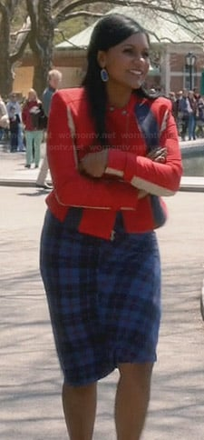 Mindy's blue plaid dress and red jacket on The Mindy Project