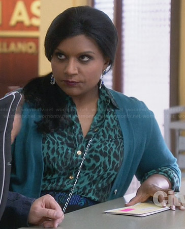 Mindy's green leopard print shirt and blue snake print skirt on The Mindy Project