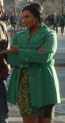 Mindy's green printed dress and green coat on The Mindy Project