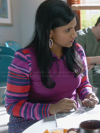 Mindy's purple and pink striped shirt on The Mindy Project