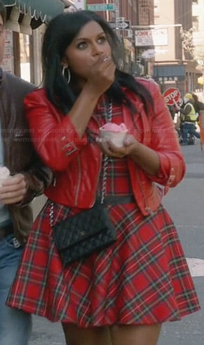 Mindy's red plaid dress and red leather jacket on The Mindy Project