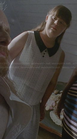 Nan's white polka dot collared dress on American Horror Story