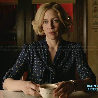 Norma's blue floral bow front blouse on Bates Motel