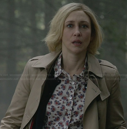 Norma's printed shirt and trench coat on Bates Motel