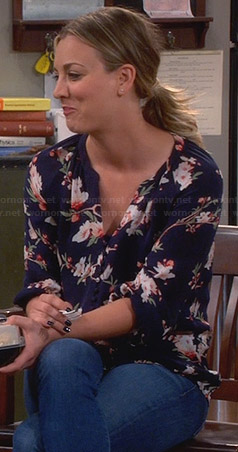 Penny's navy blue floral blouse on The Big Bang Theory