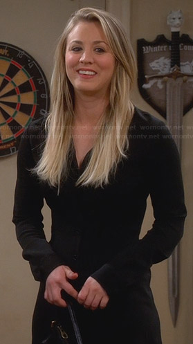 Penny's black long sleeve shirtdress on The Big Bang Theory