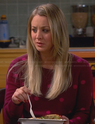 Penny's burgundy sweater with pink polka dots on The Big Bang Theory