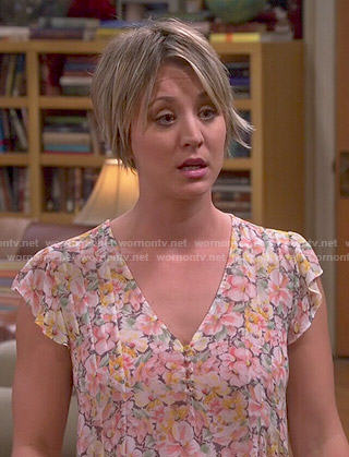 Penny's floral flutter-sleeve blouse on The Big Bang Theory