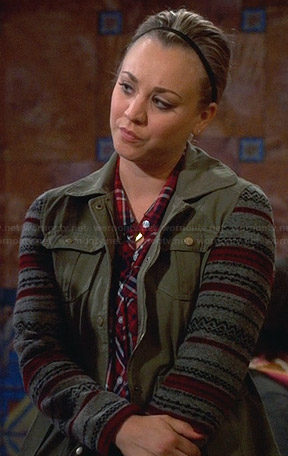 Penny's green jacket with patterned sleeves on The Big Bang Theory