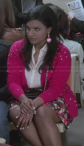 Mindy's pink studded cardigan, floral skirt and studded shirt on The Mindy Project