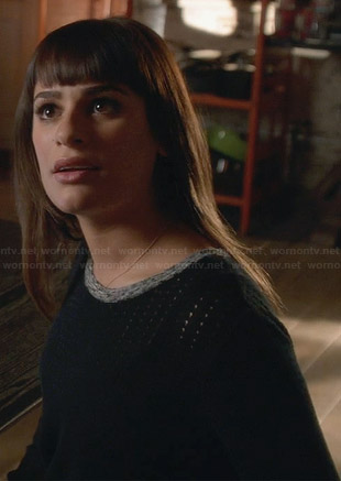 Rachel's black perforated sweater with grey trim on Glee