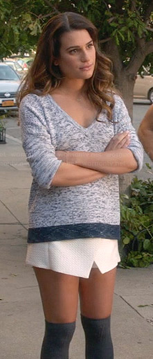 Rachel's light blue speckled sweater and white wrap skirt on Glee
