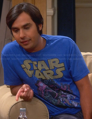 Raj's blue Star Wars t-shirt on The Big Bang Theory