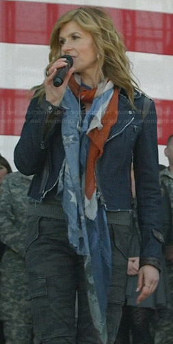 Rayna's denim moto jacket and flag scarf on Nashville