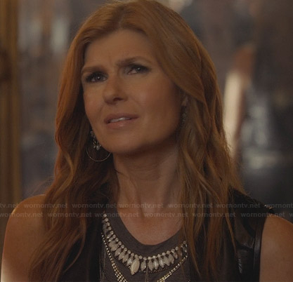 Rayna's grey bead embellished top and draped leather vest on Nashville