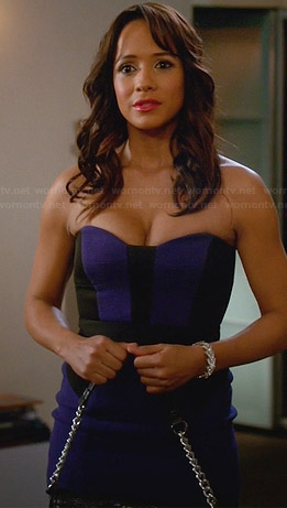 Rosie's blue strapless colorblock dress on Devious Maids