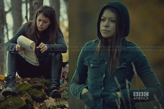Sarah's black denim jacket and leather front jeans on Orphan Black