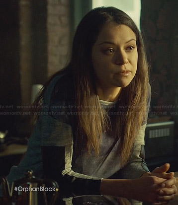 Sarah's grey printed front top with leather sleeves on Orphan Black