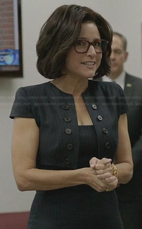 Selina's pinstripe dress with bolero on Veep