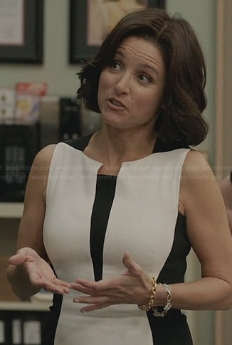 Selina's black and white colorblock dress on Veep