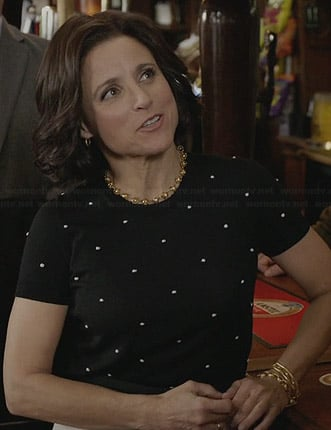 Selina's black and white polka dot top on Veep