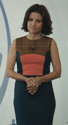 Selina's green, orange, and brown colorblock dress on Veep