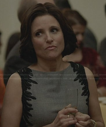 Selina's grey dress with black embroidered sides on Veep