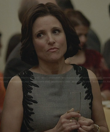 Selina's black and white collared dress on Veep