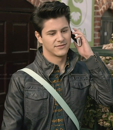 Shane's black leather jacket with zip pockets on Faking It