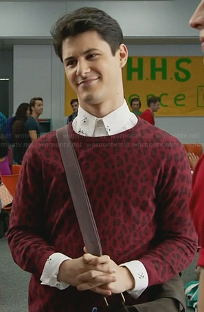 Shane's red leopard print sweater on Faking It