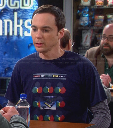 "Sheldon's ""Screens And Lenses Work Magic"" T-shirt on The Big Bang Theory"