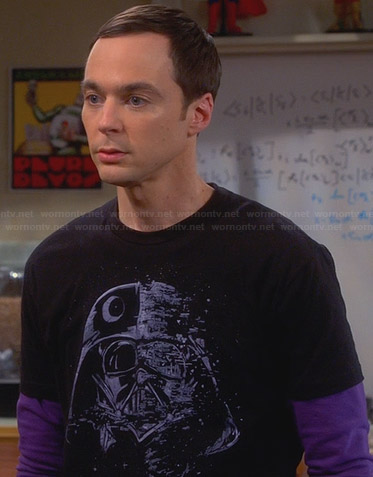 Sheldon's black Darth Vader shirt on The Big Bang Theory