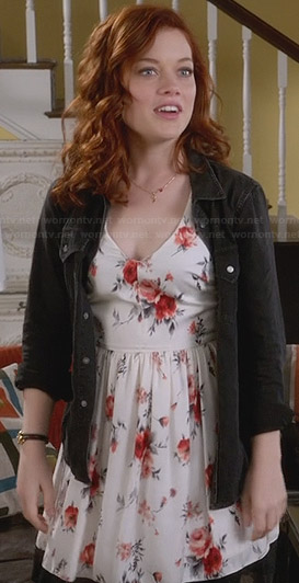 Tessa's white floral v-neck dress on Suburgatory