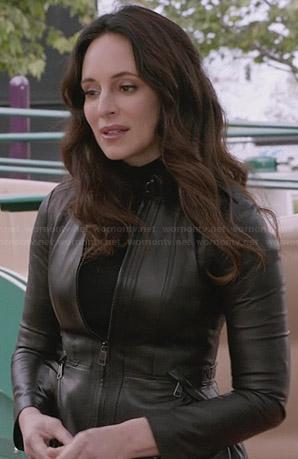 Victoria's black leather zip up jacket on Revenge