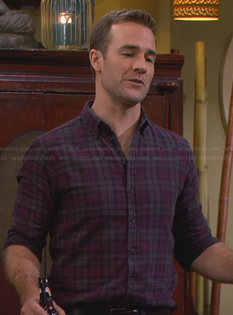 Will's grey and purple plaid flannel shirt on Friends with Better Lives