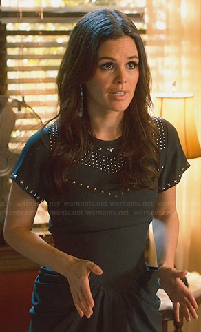 Zoe's black studded dress with gathered sides on Hart of Dixie