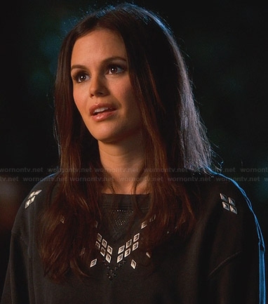 Zoe's black studded sweatshirt on Hart of Dixie