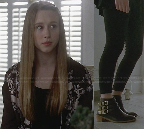 Zoe's black floral and bird embroidered jacket on American Horror Story