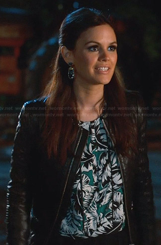 Zoe's green tropical print top and quilted leather jacket on Hart of Dixie