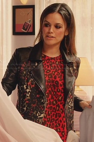 Zoe's red leopard print top and leather jacket on Hart of Dixie