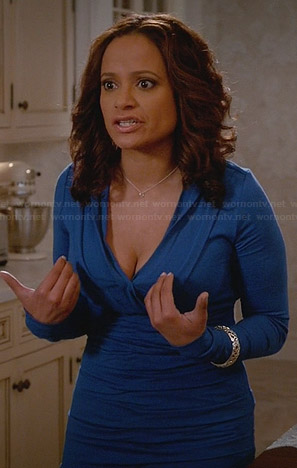 Zoila's blue v-neck gathered dress on Devious Maids