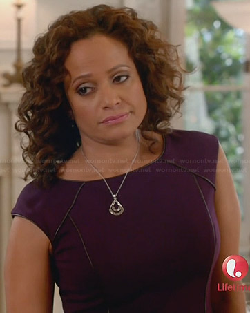 Zoila's purple dress with contrast piping on Devious Maids