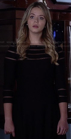 Ali's black mesh striped dress on Pretty Little Liars