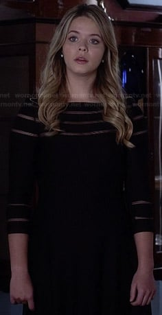 Wornontv Ali S Black Mesh Striped Dress On Pretty Little