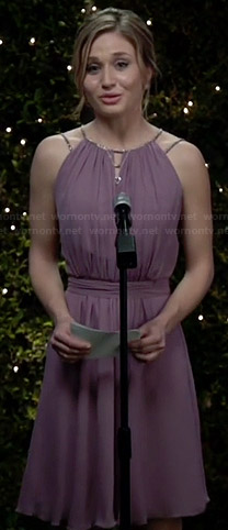 Amy's purple embellished strap keyhole dress on Faking It