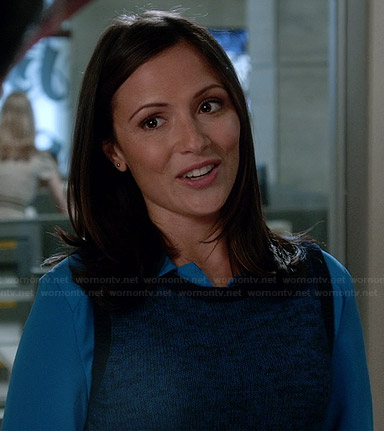 April's blue sweater vest on Chasing Life