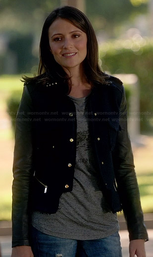 April's blue jacket with leather sleeves on Chasing Life